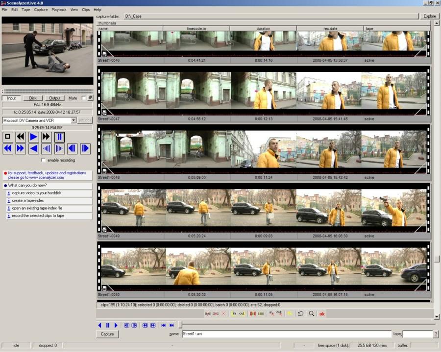 ScenalyzerLive программа для захвата видео