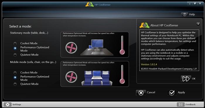 HP CoolSense для Windows 10